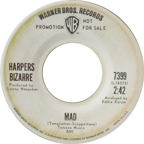 HERPERS BIZARRE / MAD [USED 7inch/US] 1050円
